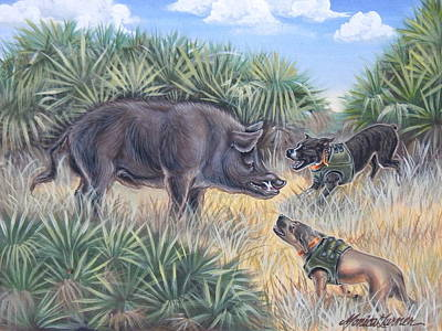 Wild Boar Painting - Brownie And Clyde by Monica Turner