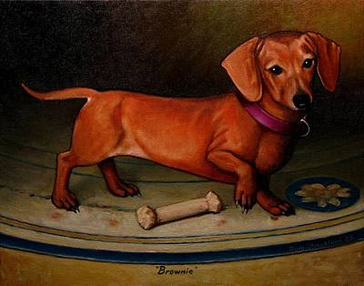 Love My Dog Painting - Brownie by Doug Strickland