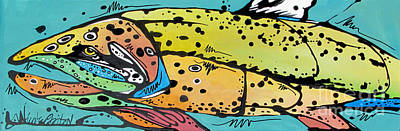 Trout Painting - Brownie The Brown Trout by Nicole Gaitan