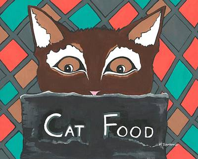 Food Art Painting - Brownie The Cat by Kathleen Sartoris