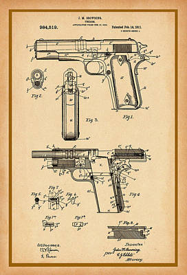 Digital Art - Browning Pistol Patent by Carlos Diaz