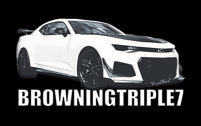 Digital Art - Browningtriple7 Camaro by Chas Sinklier