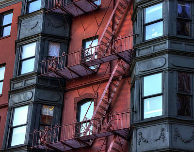 Photograph - Brownstone With Iron Fire Escapes - Boston by Joann Vitali