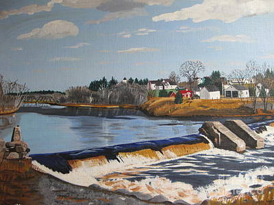 Painting - Brownville Dam With Village by Stella Sherman