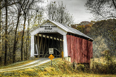Photograph - Bowsher Ford Covered Bridge  by Jack R Perry