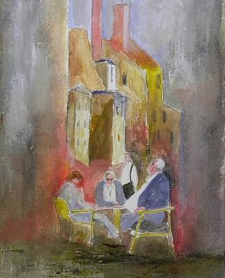 Waiting For Lunch Painting - Browsing The Menu by Bert Scofield