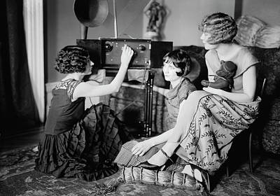 Photograph - Brox Sisters Listen To New Radio C. 1922 by Daniel Hagerman