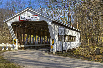 Music Royalty-Free and Rights-Managed Images - Brubaker  Covered Bridge  by Jack R Perry