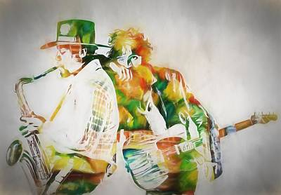 Rock And Roll Paintings - Bruce And The Big Man by Dan Sproul