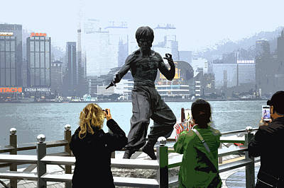 Bruce Lee And 3 Tourists Art Print