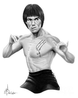 Kung Fu Drawing - Bruce Lee Figure by Murphy Elliott
