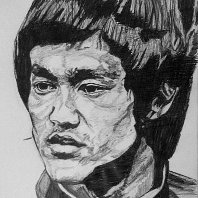 Dragon Drawing - Bruce Lee by Rachel Natalie Rawlins