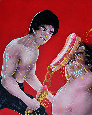 Bruce Lee Painting - Bruce Lee With Chili Dog And Onion Ring Nunchaku by Jason Wright