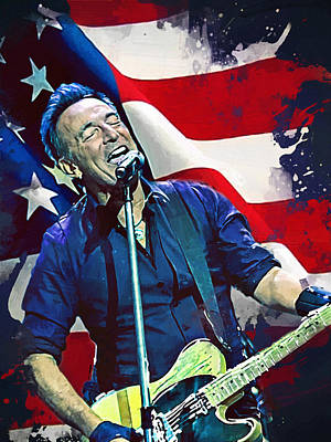 Stratocaster Painting - Bruce Springsteen by Afterdarkness