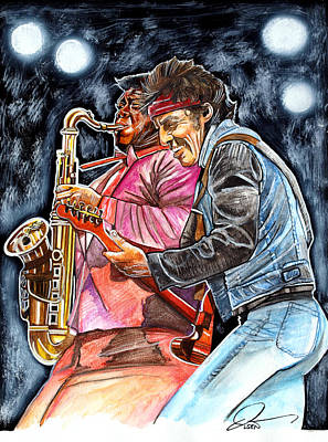 Bruce Springsteen Drawing - Bruce Springsteen And Clarence Clemons by Dave Olsen