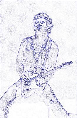 Bruce Springsteen Drawing - Bruce Springsteen Born In The Usa by Lulu Escudero