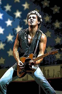Born In The Usa Painting - Bruce Springsteen Born To Run by Lulu Escudero
