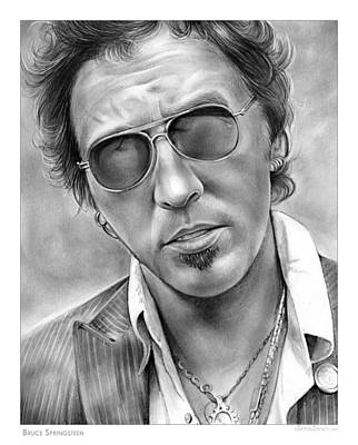 Musicians Drawings Rights Managed Images - Bruce Springsteen Royalty-Free Image by Greg Joens