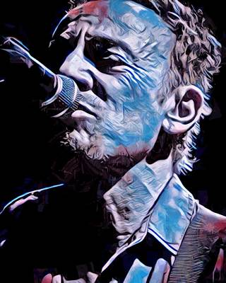 Bruce Springsteen Digital Art - Bruce Springsteen Painted  by Scott Wallace
