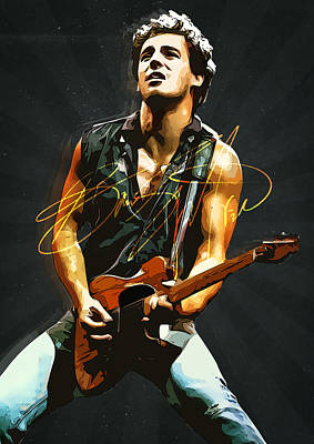 Eric Clapton Digital Art - Bruce Springsteen by Semih Yurdabak