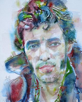 Painting - Bruce Springsteen - Watercolor Portrait.12 by Fabrizio Cassetta