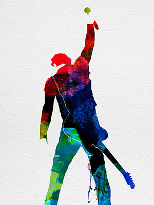 American Rock Star Painting - Bruce Watercolor by Naxart Studio