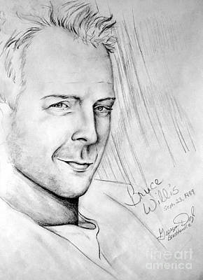 Demi Moore Drawing - Bruce Willis 1980s by Georgia's Art Brush