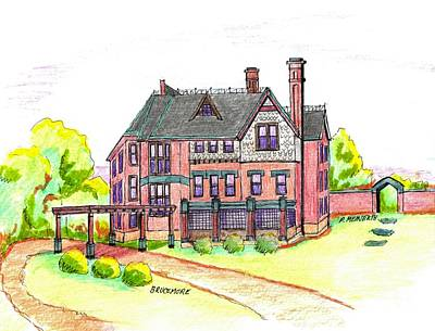 Drawing - Brucemore Mansion by Paul Meinerth