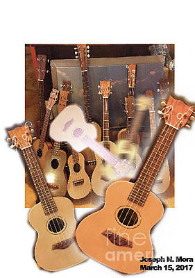 Digital Art - Bruce's Ukuleles by Joseph Mora