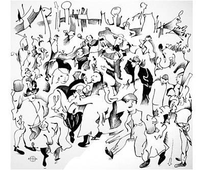 Gary Peterson Drawing - Bruegel Wedding by Gary Peterson