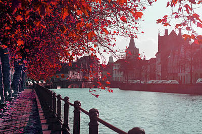Photograph - Bruge In Red Fall Colors by Haleh Mahbod
