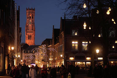 Photograph - Bruges Belfort At Night by Erik Tanghe