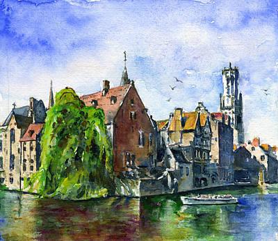 Painting - Bruges Belgium by John D Benson
