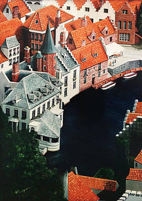 Rooftop Painting - Brudges, Belgium by Mary Grden Fine Art Oil Painter Baywood Gallery