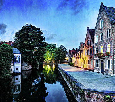 Photograph - Bruges Canal At Dusk - Vintage Version by Weston Westmoreland