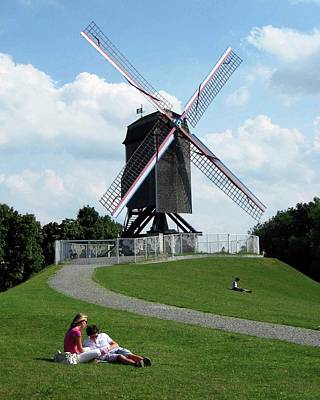 Bruges Windmill Art Print by David L Griffin