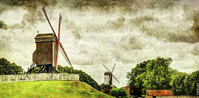 Photograph - Bruges Windmills - Vintage Version  by Weston Westmoreland