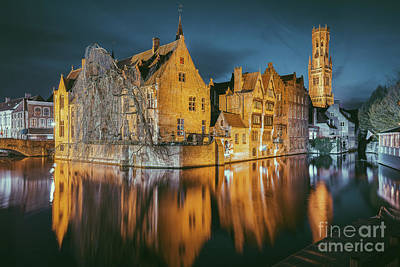 Photograph - Brugge At Night by JR Photography