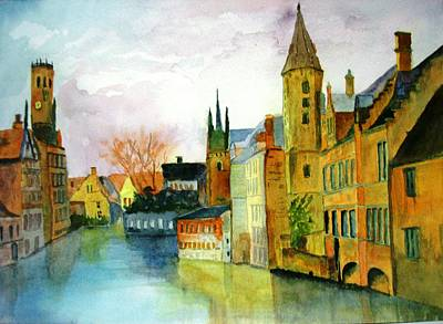 Brugge Belgium Canal Art Print by Larry Hamilton