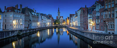 Photograph - Brugge Night Panorama by JR Photography