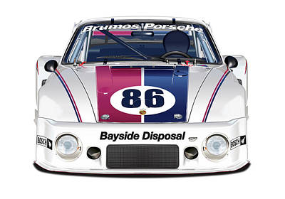 Digital Art - Brumos Porsche 935 Illustration by Alain Jamar