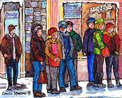 Painting - Brunch Line Up Beauty's Cafe Winter City Scene Montreal Art Canadian Painting Carole Spandau by Carole Spandau