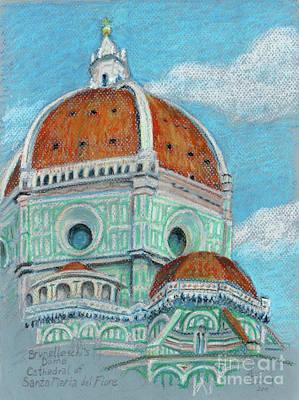 Pastel - Brunelleschi Dome In Oil Pastel By Adam Long by Adam Long