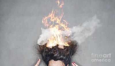 Photograph - Brunette Woman Head Hair On Fire In Flames by Jacek Malipan