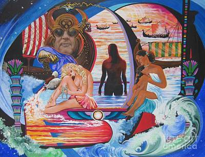 Painting - Blaa Kattproduksjoner     Two  Godessess Enjoying  The Nile Spa by Sigrid Tune