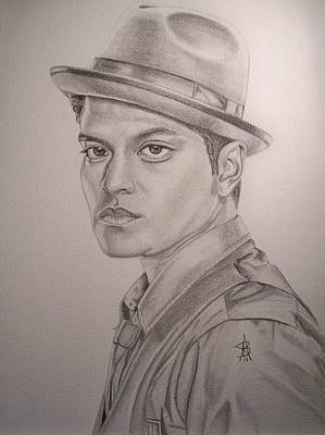 Drawing - Bruno Mars by Angelee Borrero