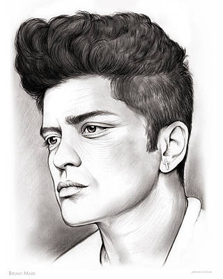 Musicians Drawings - Bruno Mars by Greg Joens