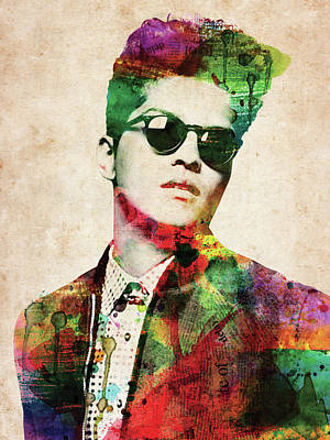 Musicians Digital Art Rights Managed Images - Bruno Mars Royalty-Free Image by Mihaela Pater