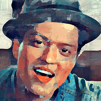 Concert Digital Art - Bruno Mars Portrait by Yury Malkov
