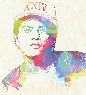 Painting - Bruno Mars Watercolor by Dan Sproul